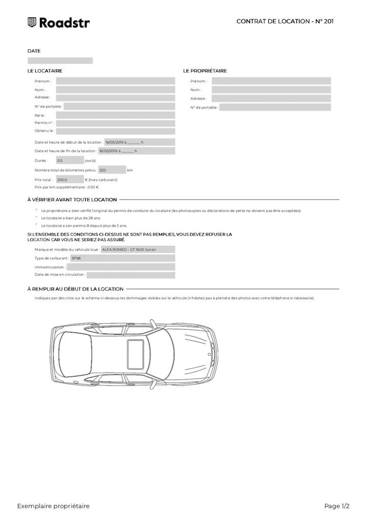 Contrat location type Roadstr
