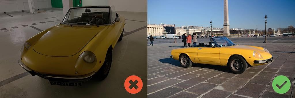 Alfa Spider jaune 3/4 face avant