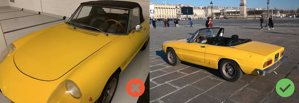 Alfa Spider jaune 3/4 face arrière