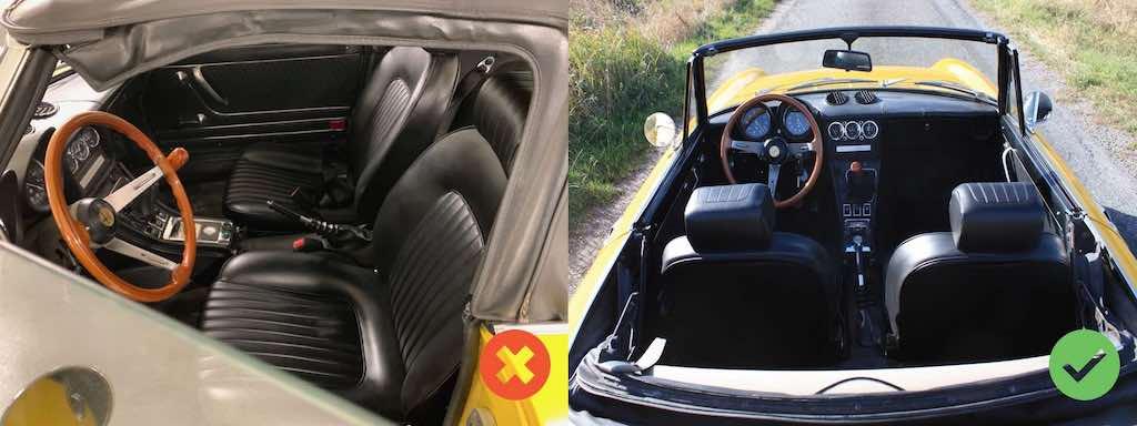 Alfa Spider jaune intérieur (depuis les places arrières)