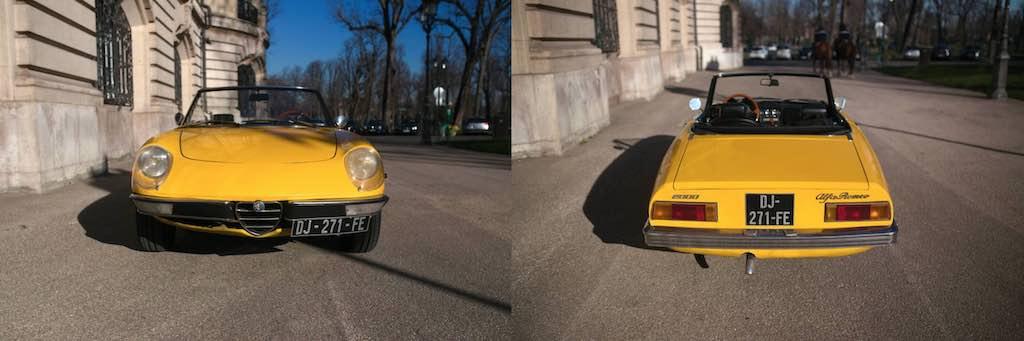 Alfa Spider jaune avant et arrière