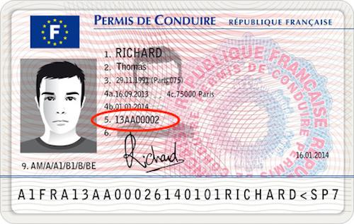 Vue permis-type recto numéro de permis