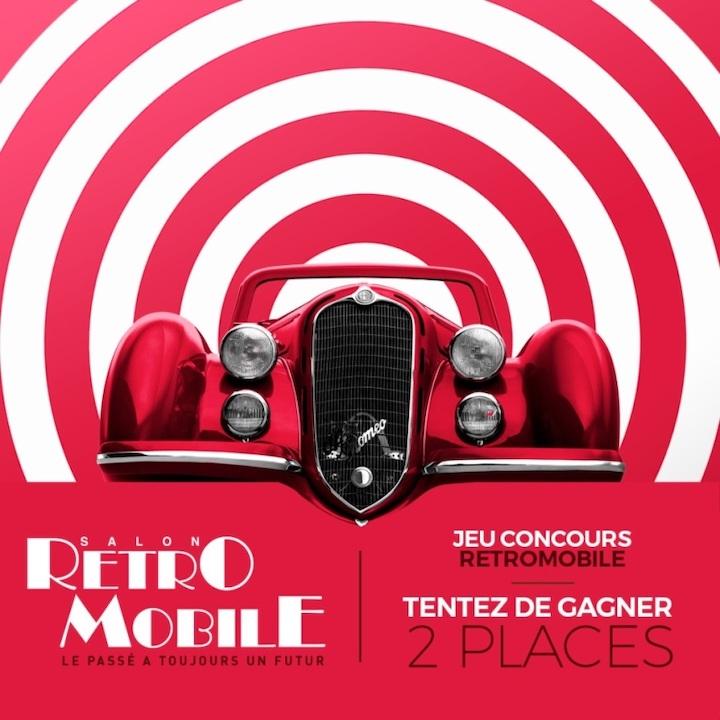 Affiche du salon Retromobile 2020 avec une calandre de Alfa Romeo 8C rouge de 1929