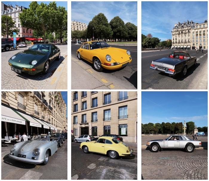 Mosaïque de voitures anciennes sportives à Paris