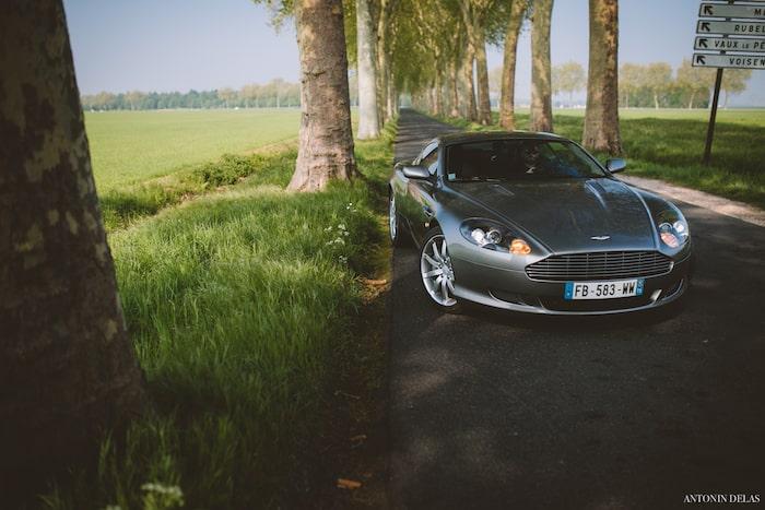 Aston Martin DB9 grise sur une route de campagne bordée d'arbres