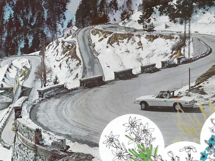 Triumph de 1971 sur une route de montagne